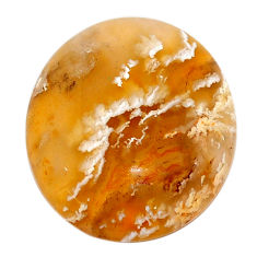 Natural 23.45cts plume agate yellow cabochon 24x21 mm oval loose gemstone s22855