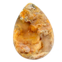 Natural 18.10cts plume agate yellow cabochon 27x17 mm pear loose gemstone s22849