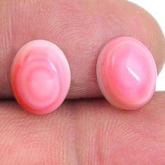 Natural 8.35cts queen conch shell pink 10x8 mm oval pair loose gemstone s20103