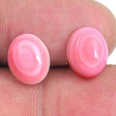 Natural 8.45cts queen conch shell pink 10x8 mm oval pair loose gemstone s20104