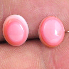 Natural 8.45cts queen conch shell pink 10x8 mm oval pair loose gemstone s20106