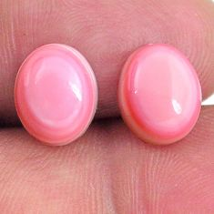 Natural 8.55cts queen conch shell pink 10x8 mm oval pair loose gemstone s20107