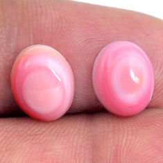 Natural 8.15cts queen conch shell pink 10x8 mm oval pair loose gemstone s20109