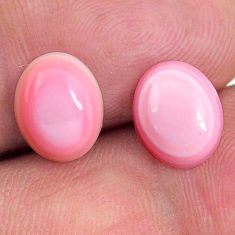 Natural 8.20cts queen conch shell pink 10x8 mm oval pair loose gemstone s20111