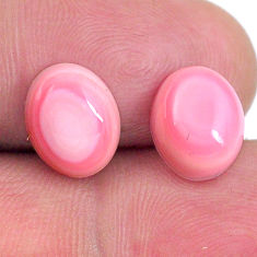 Natural 8.10cts queen conch shell pink 10x8 mm oval pair loose gemstone s20113
