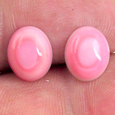Natural 8.40cts queen conch shell pink 10x8 mm oval pair loose gemstone s20114