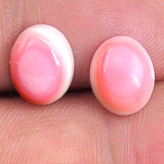 Natural 8.25cts queen conch shell pink 10x8 mm oval pair loose gemstone s20120