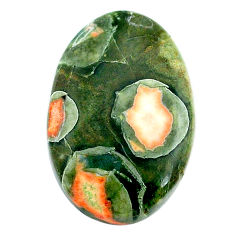 Natural 22.35cts rainforest rhyolite jasper 28x18 mm oval loose gemstone s24502