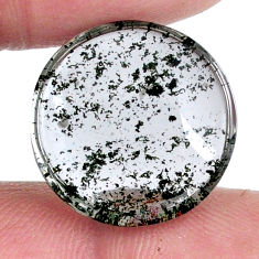 Natural 15.10cts scenic lodolite white cabochon 18x18 mm loose gemstone s20088