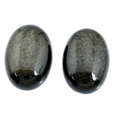 Natural 10.15cts sheen black obsidian golden 14x10 mm pair loose gemstone s21371
