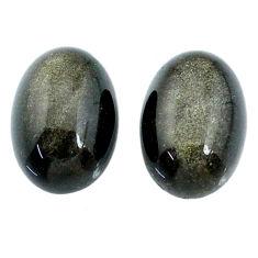 Natural 12.25cts sheen black obsidian golden 14x10 mm pair loose gemstone s21387