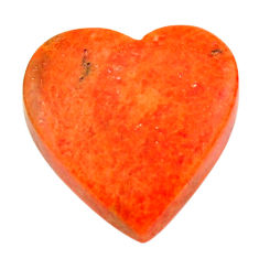 Natural 8.10cts sponge coral red cabochon 16.5x16 mm heart loose gemstone s17865