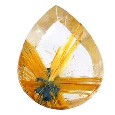 Natural 9.20cts star rutilated quartz golden 18x14 mm pear loose gemstone s21220