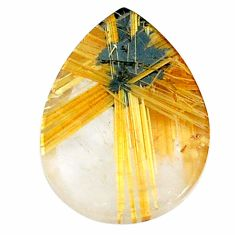 Natural 15.10cts star rutilated quartz golden 20x15mm pear loose gemstone s21201