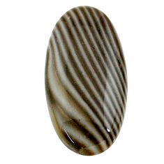 Natural 33.25cts striped flint ohio grey 37x18.5 mm oval loose gemstone s24497