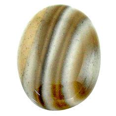 Natural 19.35cts striped flint ohio grey cabochon 23x17 mm loose gemstone s23186