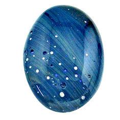 Natural 12.40cts swedish slag blue cabochon 21x15 mm oval loose gemstone s24155