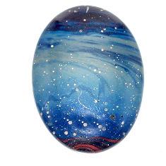 Natural 28.45cts swedish slag blue cabochon 31x21 mm oval loose gemstone s24111