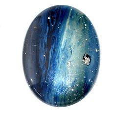 Natural 49.15cts swedish slag blue cabochon 40x28 mm oval loose gemstone s24120
