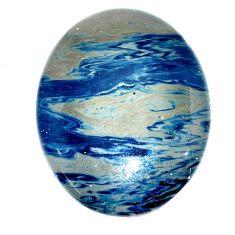 Natural 58.15cts swedish slag blue cabochon 40x31 mm oval loose gemstone s24112
