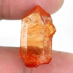 Natural 21.20cts tangerine lemurian quartz 22.5x11mm fancy loose gemstone s20044