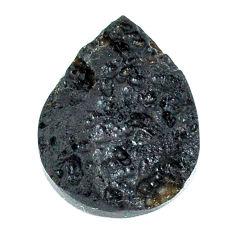 Natural 17.35cts tektite black cabochon 22x16 mm pear loose gemstone s22040