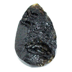 Natural 16.25cts tektite black cabochon 25x15 mm pear loose gemstone s22032