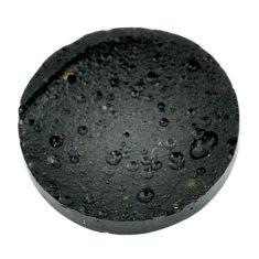 Natural 26.30cts tektite black cabochon 27x27 mm round loose gemstone s22046