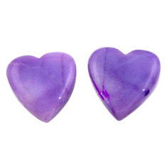 Natural 7.40cts tiffany stone purple 12x11.5 mm heart pair loose gemstone s18906