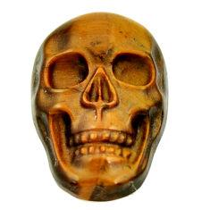 Natural 16.30cts tiger's eye brown 22x15 mm fancy skull loose gemstone s18080