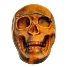 Natural 15.10cts tiger's eye brown carving 22x15 mm skull loose gemstone s18006