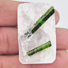 Natural 116.30cts tourmaline in quartz green rough 37x23mm loose gemstone s19055
