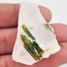 Natural 110.15cts tourmaline in quartz green rough 43x30mm loose gemstone s19041