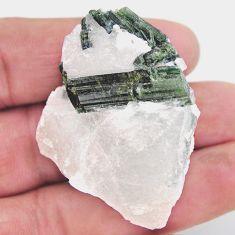 Natural 155.10cts tourmaline in quartz green rough 45x37mm loose gemstone s19053