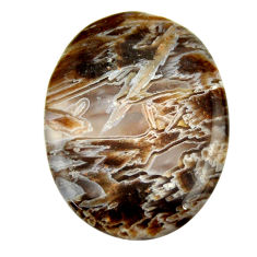 Natural 40.10cts turkish stick agate brown 35x26 mm oval loose gemstone s16968