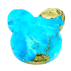 Natural 23.15cts turquoise pyrite blue 23x23 mm bunny loose gemstone s21811