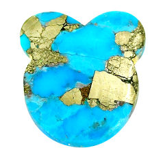 Natural 26.20cts turquoise pyrite blue 25x23 mm bunny loose gemstone s21813