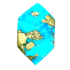 Natural 18.10cts turquoise pyrite blue 29x16 mm loose gemstone s21804