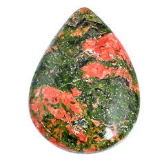 Natural 23.15cts unakite green cabochon 29x21 mm pear loose gemstone s21062