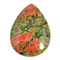 Natural 26.15cts unakite green cabochon 30x21 mm pear loose gemstone s21066