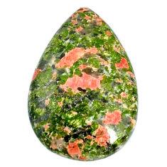 Natural 25.65cts unakite green cabochon 32x21 mm pear loose gemstone s21061