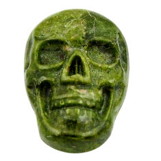 Natural 9.45cts unakite green carving 17.5x12 mm skull loose gemstone s18124