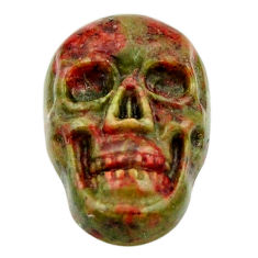 Natural 9.35cts unakite green carving 17.5x12 mm skull loose gemstone s18125