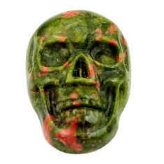 Natural 9.15cts unakite green carving 17.5x12 mm skull loose gemstone s18127