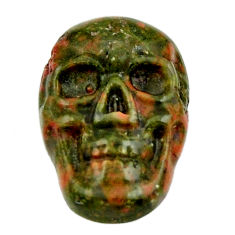 Natural 9.45cts unakite green carving 17.5x12 mm skull loose gemstone s18131