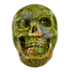 Natural 9.30cts unakite green carving 17.5x12 mm skull loose gemstone s18134