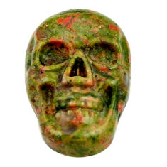Natural 9.20cts unakite green carving 17.5x12 mm skull loose gemstone s18137