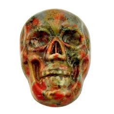 Natural 8.10cts unakite green carving 17.5x12 mm skull loose gemstone s18138