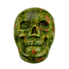 Natural 9.45cts unakite green carving 17.5x12 mm skull loose gemstone s18139
