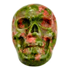 Natural 8.10cts unakite green carving 17.5x12 mm skull loose gemstone s18140